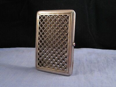 French Silver Art Deco Antique Daisy Flower Cigarette Card Case Pocket Box