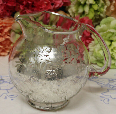 Stunning Glass Pitcher with Lavish Sterling Silver Overlay  of Roses, Peonies