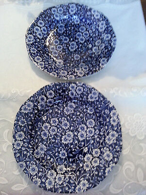 Vintage* Two * Crownford England * CALICO* Blue Chintz * Bread & Butter Plates