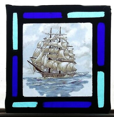 Leaded Stained Glass Panel - Sailing Ship Kiln Fired window panel maritime sea