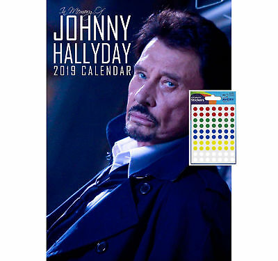 Johnny Halliday Calendar 2019 Includes 70 Coloured Dot Stickers New