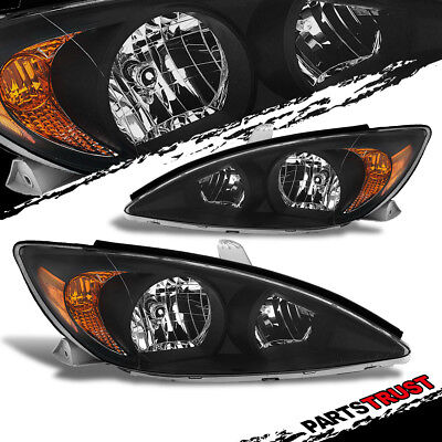 For 2002-2004 Toyota Camry  Sedan Factory Style Crystal Black Headlights Pair