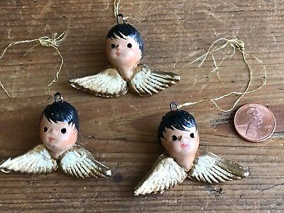 Estate Vintage Hand Painted Composition Boy Cherub Angel Ornaments- Set (3!)