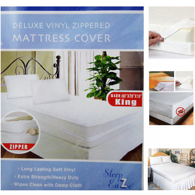 2pc King Size Zippered Mattress Cover Vinyl Waterproof Bug Allergy Protector Bed