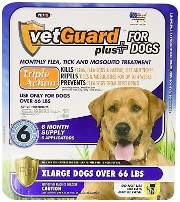 Flea & Tick Treatment for Dogs XLarge Over 66 lbs 6 Month Control VetGuard Plus