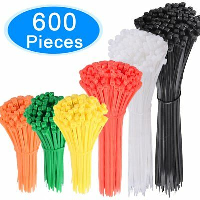 AUSTOR 600 Pieces Coloured Cable Ties Assorted Nylon Cable Zip Ties