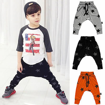 Kids Boys Girls Harem Pants Star Trousers Leggings Baby Toddler Clothes Age 2-7Y