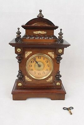 Working German Antique 30 Hour Mantel Clock With Music Box Alarm & Key