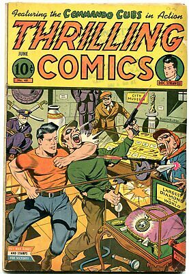 Thrilling Comics #48 1945- Doc Stange Schomburg cover- Commando Cubs VG