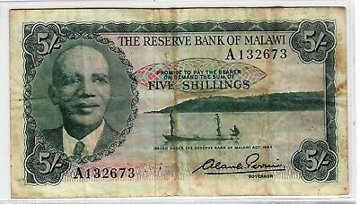 Malawi 5 Shillings Reserve act of 1964 p-1 Fine
