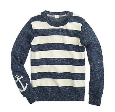 Crewcuts Boy's Anchor Sleeve Striped Sweater Marled Blue & Cream Size 6/7