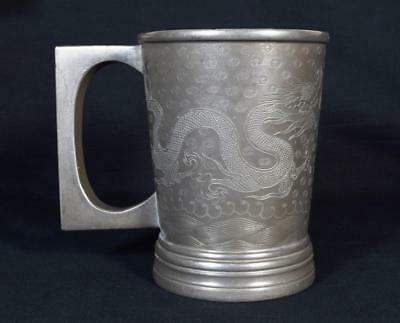Chinese Antique Pewter and Glass Tankard c1910-1930 Engraved Dragon