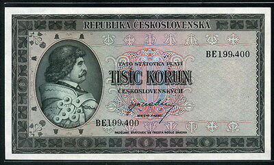 Czechoslovakia 1945, 1000 Korun, P65a, not Perforated, Original UNC