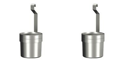 IKEA 2 x Grundtal Hanging Cutlery pot holder containers PAIR Stainless Steel NEW