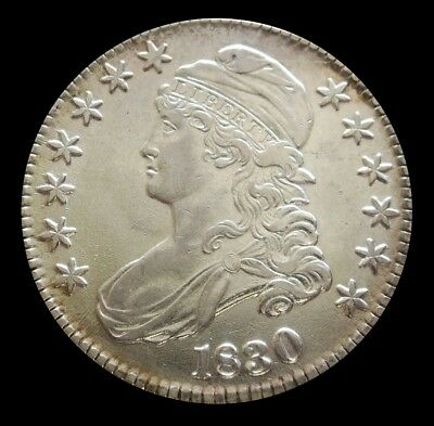 1830 Silver Large O Capped Bust Half Dollar Coin About Unc Condition