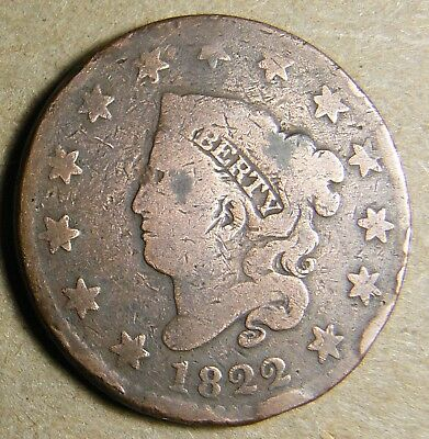 1822 U.S. LARGE CENT Very Good Condition