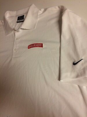 Nike Polo Golf Shirt Embroidered Smirnoff Vodka White Mens XL Party Drinking Bar