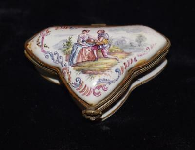 "Antique ""Lille 1768"" Hand Painted Porcelain French Trinket Box - Courting Scene"