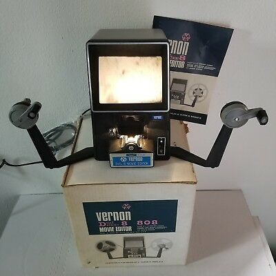 VERNON 808 Dual Deluxe 8 8mm Movie Film Viewer /  Editor TESTED/WORKS