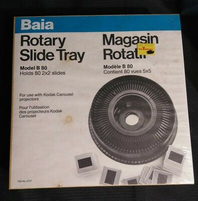 Baia Rotary Slide Tray Model B80 holds 80 2x2 slides NEW IN SEALED BOX