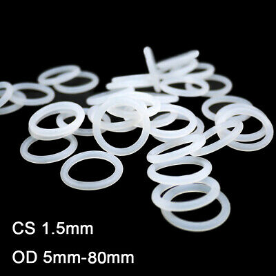 White Silicon Rubber O Ring Seals Washer Food Grade Cross Section 1.5mm OD5-45mm
