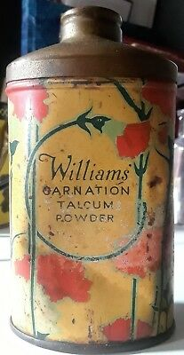 Antique Rare Collectable Colorful 1906 Williams Carnation Talcum Powder Tin Can