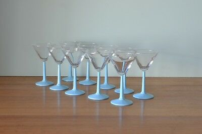 Vintage Martini glasses cocktail  baby blue glass x1 price for 1            AOT1