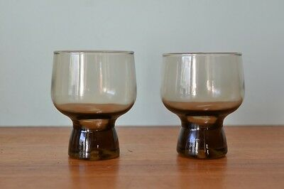 Vintage 2 x  brown smokey glass drinking colours