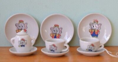 Vintage ceramic Dumbo elephant miniature tea cup / saucers  sugar pot mid LYLBT3