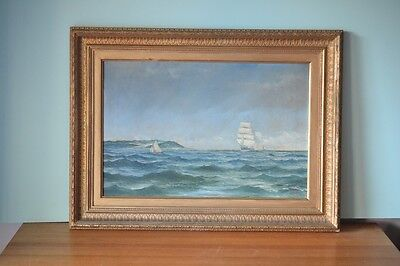 Vintage old oil painting Tall ships framed 1897 London Winsor & Newton