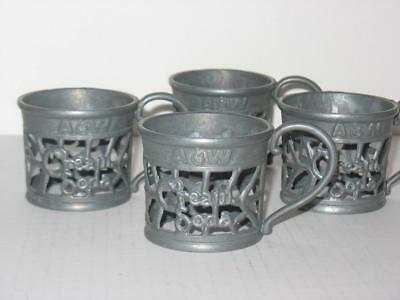 Vintage A&W Cream Soda Metal Base Holders with Handles Set of 4