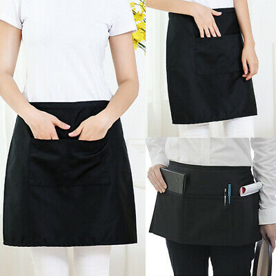 Waist Half Short Home Restaurant Waiters Waitress Chef Apron Bib Spun Pockets