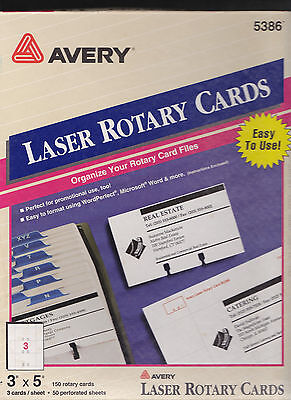 """Avery-laser-Ink-Large-Rotary-Cards-150-White-3"""" x 5"""" #5386"""
