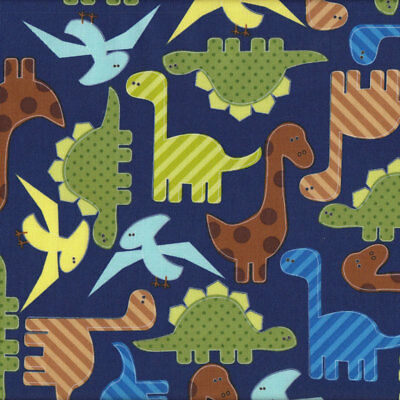 Dinosaurs on Navy Boys Kids Urban Zoologie Ann Kelle Quilt Fabric FQ or Metre *N