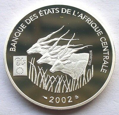 Central African 2002 Antelope 2000 Francs Silver Coin,Proof,Rare!