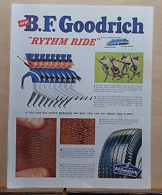 1950 magazine ad for B.F. Goodrich Tires - Rhythm Ride, Best marchers & tires