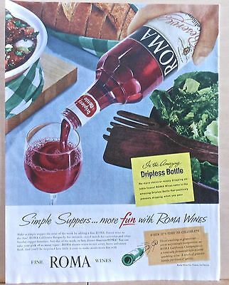 1955 magazine ad for Roma Wines - Dripless bottle, Simple Suppers more fun