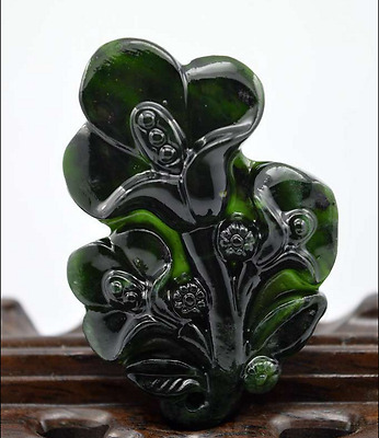 New Fine  Chinese old Crafted natural jade statue pendant Magnolia