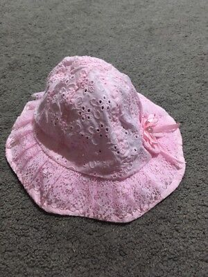 BNWT Baby Girls Pink Lace Sun Hat Size 6+ Months