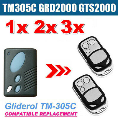 1/2/3x Gliderol TM305C GRD2000 GTS2000 Garage Door Roller Remote Replacement
