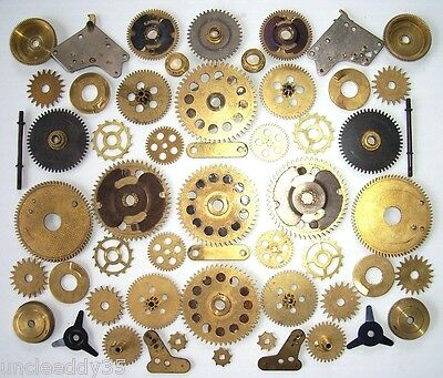 Lot 35+ vintage small & large clock brass gears wheels cogs Steampunk parts #7