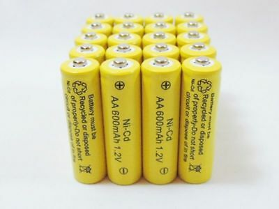 20 AA Rechargeable Batteries NiCd 600mAh 1.2v Garden Solar Ni-Cd Light LED A20US