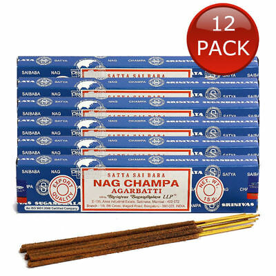 12 X SATYA SAI BABA NAG CHAMPA AGARBATTI AUTHENTIC SCENTED INCENSE STICKS 15g