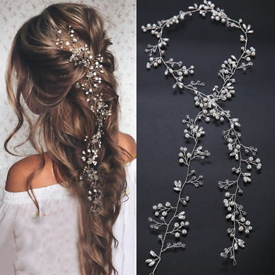 Women Wedding Jewelry Crystal Pearl Diamante Hair Vine Bridle Headband 35cm