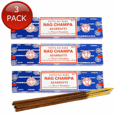 3x SATYA SAI BABA NAG CHAMPA AGARBATTI AUTHENTIC SCENTED INCENSE STICKS BULK 15g