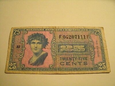 Twenty Five Cents Military Payment Certificate Series 541