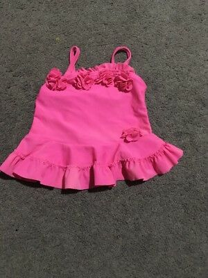Baby Girls Short Sleeve Pink Bather Top Size 3-6 Months GUC