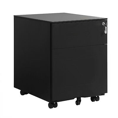 Lockable Office File Cabinet Pedestal with Drawers and Hanging Rails OFC50BK