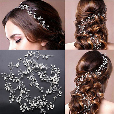 Women Wedding Pearl Vine Crystal Bridal Diamante Headbands Hair Accessories 35cm