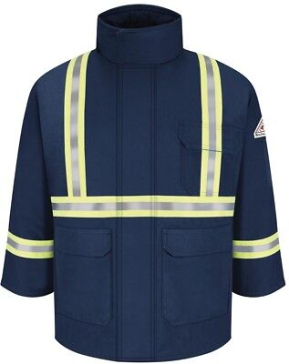 CAT 3 Protective Workwear Mens Large Navy Deluxe Parka CSA Reflective Trim